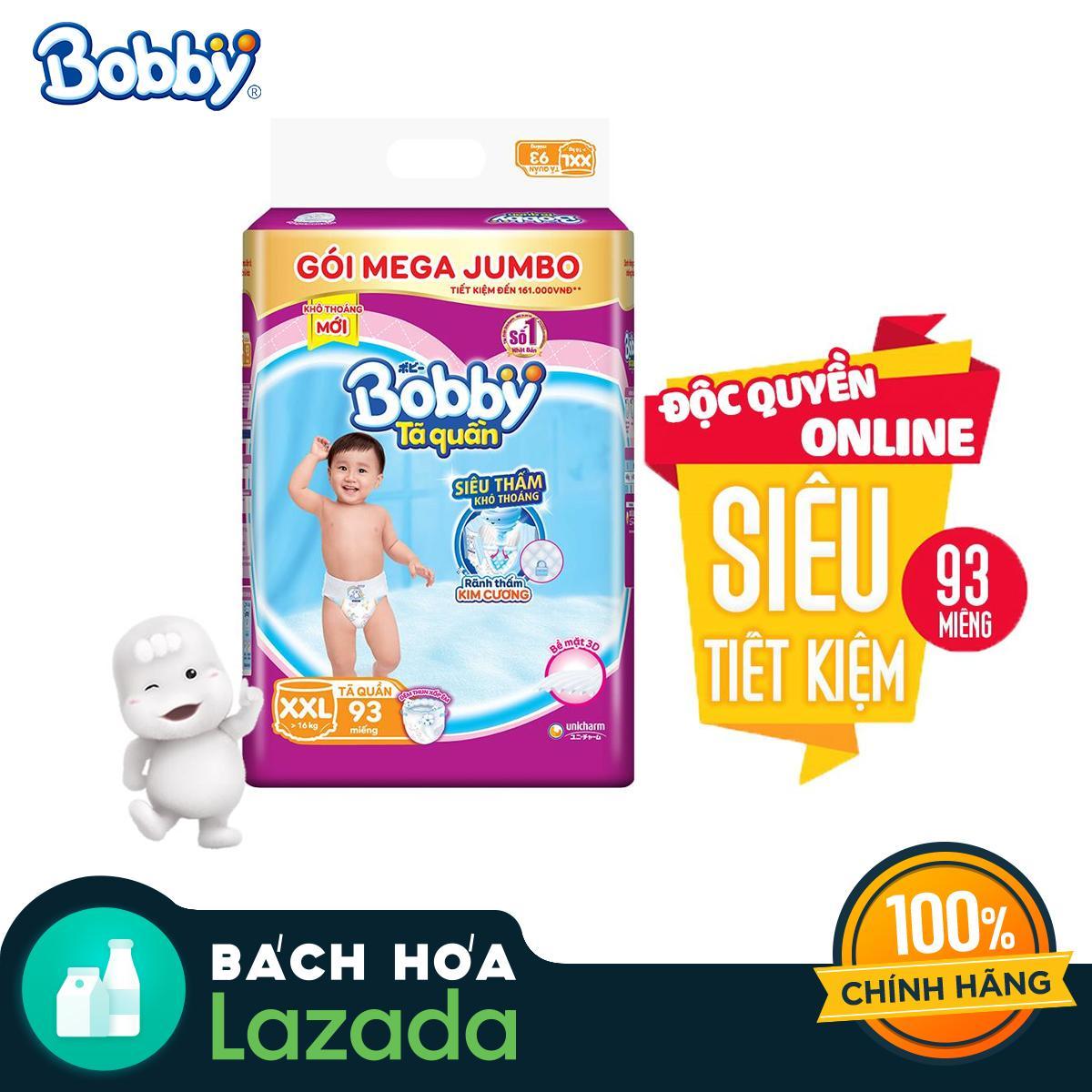 [Độc quyền Online] Tã/bỉm quần Bobby gói Mega Jumbo XXL93...