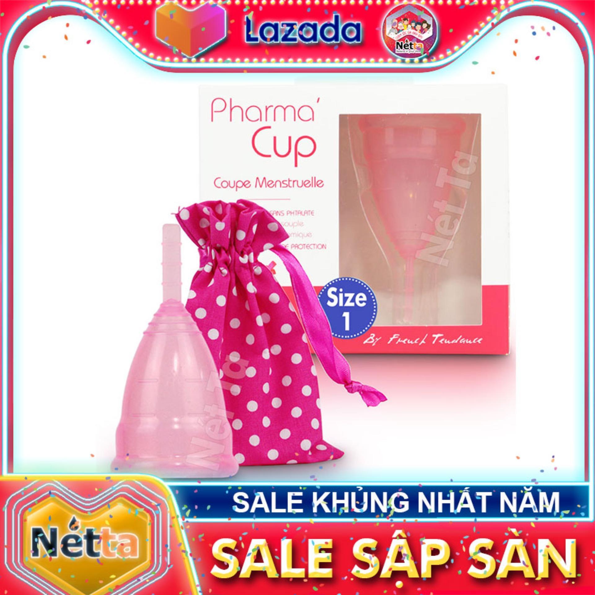 Cốc nguyệt san Pharma Cup 100% Silicone Pháp - Màu hồng 2 Size được làm bằng silicone y tế dùng...