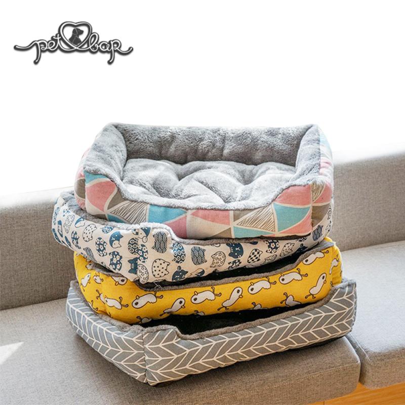 Ổ cho chó mèo -  Đệm ấm cho chó mèo lót lông có thể dùng với thảm mùa hè – Nệm chữ nhật cho thú cưng trống trơn trượt, chống thấm nhiều màu