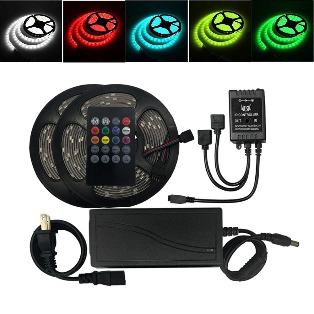 Bảng giá Bộ đèn 10m Led dây 5050 RGB có điều khiển cảm ứng âm thanh nhấp nháy theo nhạc