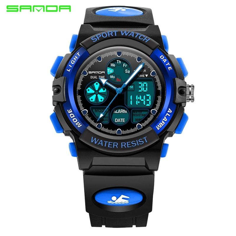 Nơi bán Brand Watch Sports Cartoon LED Digital Wristwatch Alarm Clock Boys Girls Dual Display Wristwatches 116 - intl