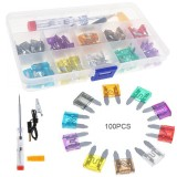 Chiết Khấu 100Pcs Small Auto Automotive Car Fuse Plugs Blade Fuse Box Tools Assortment With Test Pencil And Fuse Clip Intl Oem