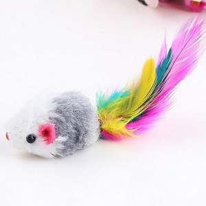 Hình ảnh 10Pcs/lot Soft Fleece False Mouse Cat Toys Colorful Feather Funny Playing Toys - intl