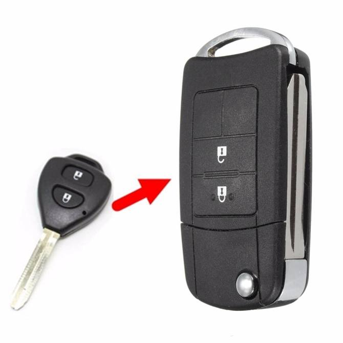 2 Buttons Flip Key Case Shell Uncut Blade For Toyota Camry Corolla Yaris Rav4 Replacement Key Shell - intl