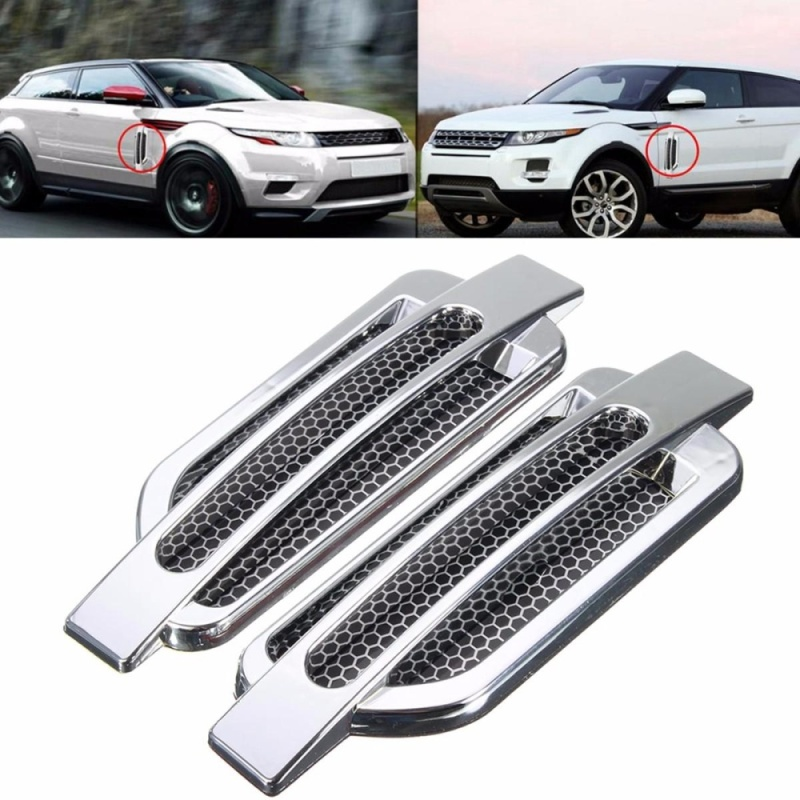 2 pairs Car Side Air Flow Vent Fender Hole Cover Intake Grille Duct Decoration Sticker - intl