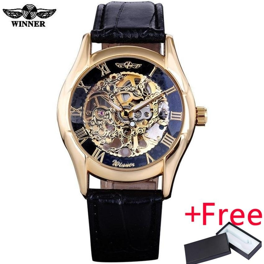 Orient Jam Tangan Pria Orient FAG00001S Semi Skeleton Automatic Rose Gold Leather Watch .