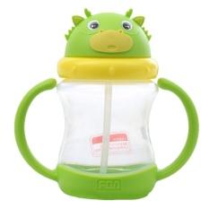 260ML Kids Cute Dragon No Spill Straw Sippy Cup Water Bottle (Green) - intl