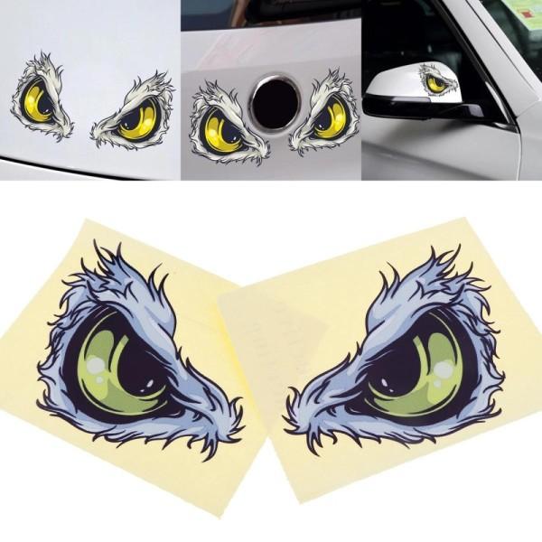 2 Chiếc 3D 10X8 Cm Vật Liệu Phản Quang Họa Tiết Mắt Sáng Tạo Hài Hước Nhãn Dán Xe Lập Thể