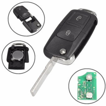 433MHz ID48 Chips 2 BTN Remote Key Alarm Fob Flip Uncut For VW #1J0 959 753 AG - intl