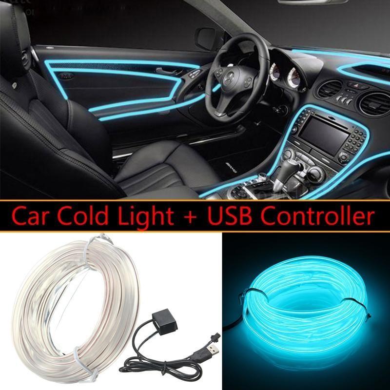 5m-Car-Interior-Decoration-Atmosphere-EL-Cold-Light-LED-Strip-Drive-9-Colors Trong Xanh-quốc tế