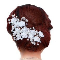 Giá Bán 5Pcs Beauty Rhinestone Crystal Pearl Flower Wedding Bridal U Hairpins Intl Nguyên