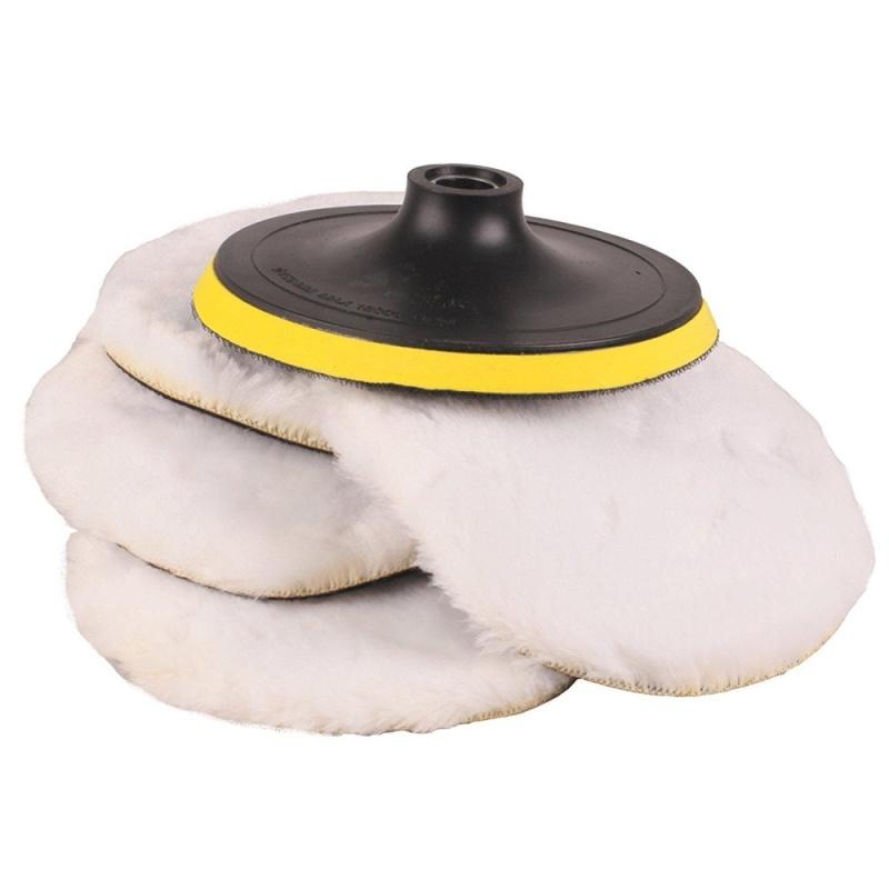5 cái Đệm Mềm Mại Xe Ô Tô Lông Cừu Máy Đánh Bóng Đệm Phồng Đánh Bóng Bonnet Miếng Lót Với Vòng-quốc tế