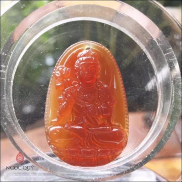 Mặt Dây Chuyền Đá Mã Não Đỏ 8 Vị Phật Bổn Mạng Mệnh Hoả, Thổ 3.6 x 2.3cm (màu đỏ) - Ngọc Quý Gemstones