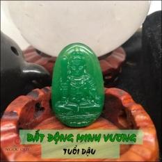 Mặt Dây Chuyền Đá Cẩm Thạch 8 Vị Phật Bổn Mạng Mệnh Mộc Hoả 3.6x2.3cm (màu xanh) - Ngọc Quý Gemstones