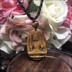 Mặt Dây Chuyền Đá Mắt Hổ 8 Vị Phật Bổn Mạng Mệnh Thổ Kim 5x3cm (màu vàng nâu) - Ngọc Quý Gemstones