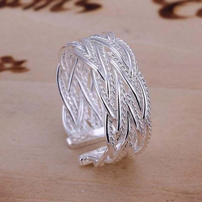 925 Sterling Silver Ring Crossed Net Web Weave Open Ring Finger Ring - intl