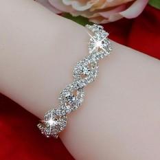 Hình ảnh Vòng tay pha lêAmart thời trang dự tiệc sang trọng đính kim cương giả (Trắng)