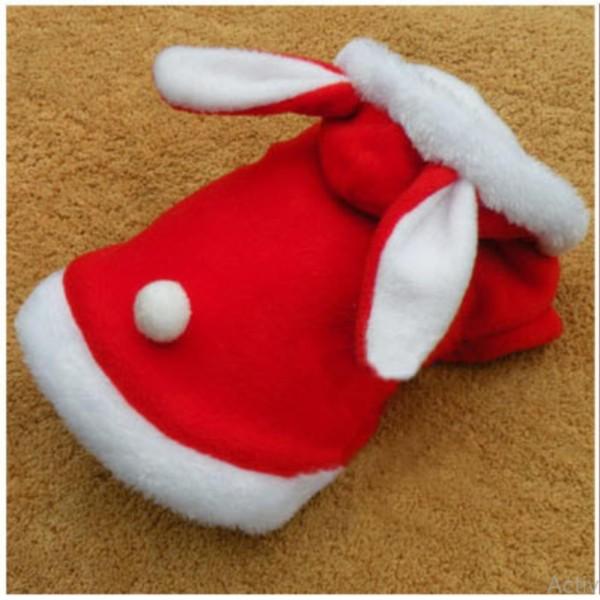 áo chó mèo cao cấp kiểu áo khoác bông tai thỏ đỏ size l ( dành cho chó mèo 3 - 5 kg) c1