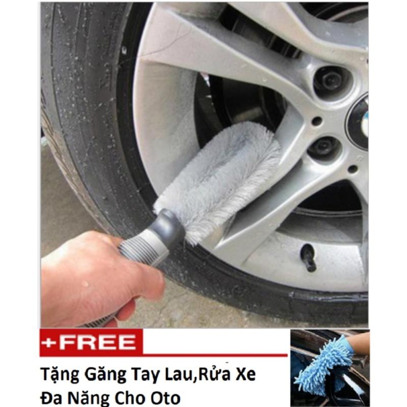 Bàn chải cọ rửa làm sạch lốp ô tô HQ STORE 1TI58 tặng găng tay lau rửa xe đa năng