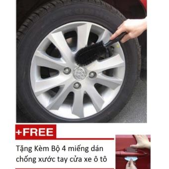 Bàn chải cọ rửa làm sạch lốp ô tô Tặng Kèm Bộ 4 miếng dán chống xước tay cửa xe ô tô (Đen)