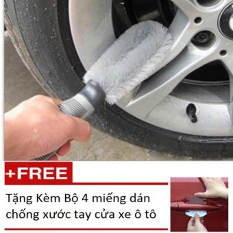 Bàn chải cọ rửa làm sạch lốp ô tô (Xám) Tặng Kèm Bộ 4 miếng dán chống xước tay cửa xe ô tô