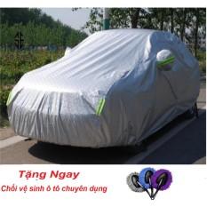 Bạt, áo trùm che phủ xe hơi, xe ô tô phủ nhôm bạc 4 chỗ, 2 lớp chống nóng, mưa, xước sơn, vân 4D ( Dành cho xe camry) + Tặng Chổi vệ sinh trên ô tô