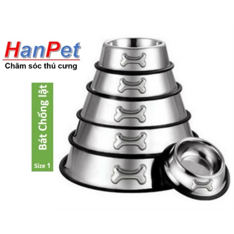 Hanapet-Bát / chén ăn inox KHÔNG GỈ chống lật size 1 dành cho chó mèo dưới 5kg (đường kính 15cm)-  353a