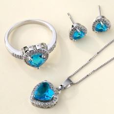 Bigood Womens Sweet Heart CZ Necklace&Ear Studs&Ring Jewelry Sets Sky Blue US8- intl