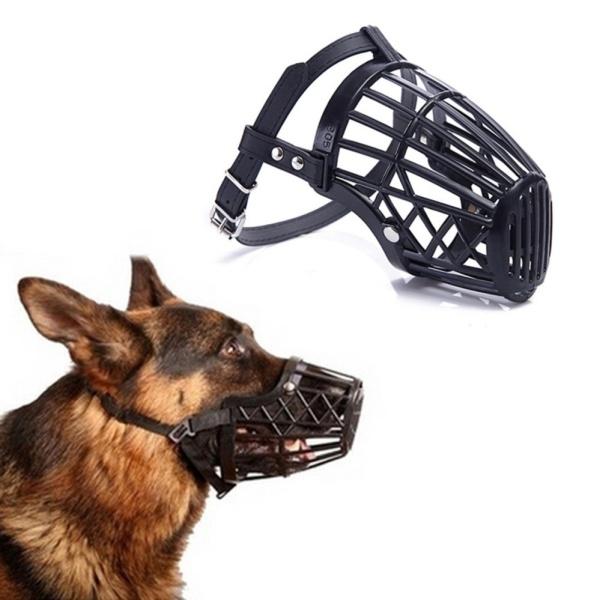Black Adjustable Basket Mouth Muzzle Cover For Dog Training Bark Bite Chew Control Black Size 2h
