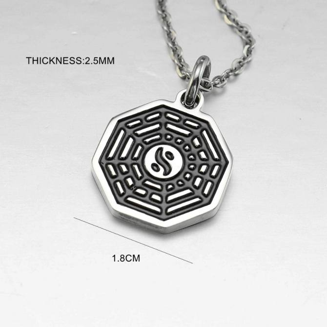 Black Enamel Silver Tone Stainless Steel Yin Yang Eight Diagrams Pendant Necklace 45CM Long 03 -