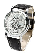 Bluelans® Unisex Roman Numerals Black Strap White Dial Faux Leather Watch (Intl)