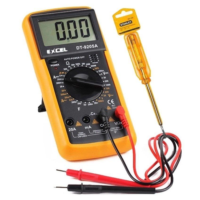 Bộ 1 Đồng hồ đo vạn năng Excel DT9205A (Đen phối vàng) và 1 bút thử điện Gamo Shop. 1 bút thửđiện 100~500v AC. Thích hợp cho thợ điện tử hay học sinh sinh viên học tập