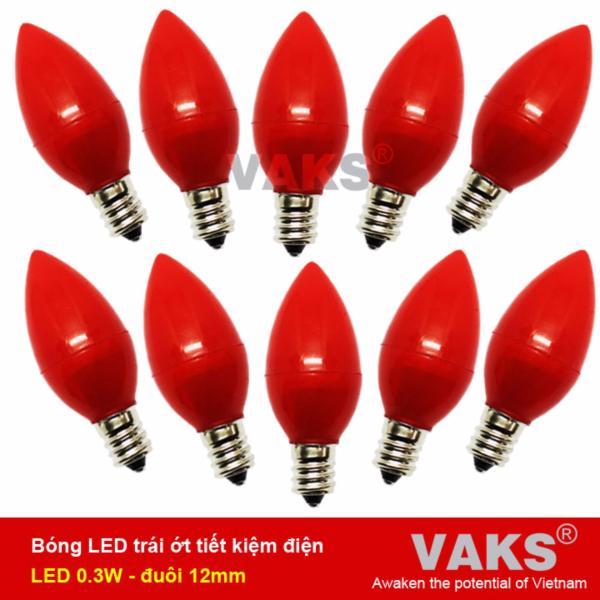 Bộ 10 bóng Led trái ớt E12 tiết kiệm điện (0,3W)