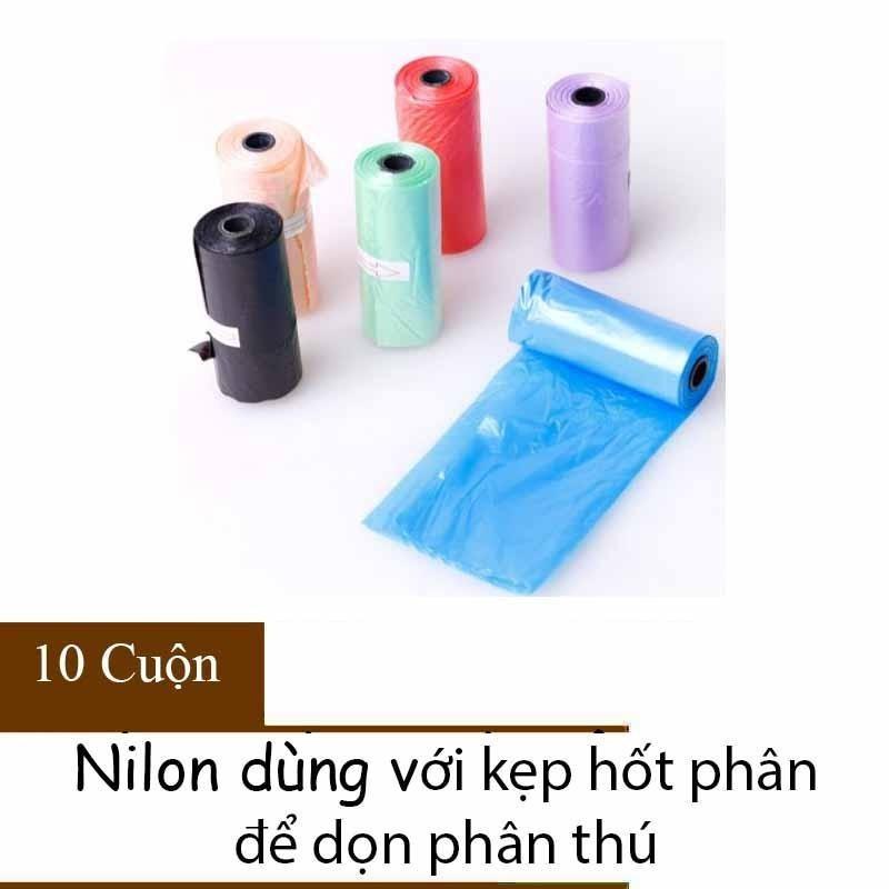 Nilon dọn phân cho chó Dùng với kẹp hốt phân - Bịch nilon hốt phân cho chó mèo - 10 Cuộn nilon không hộp