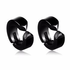Bộ 2 bông tai nam khoen tròn đen kẹp không bấm lỗ thời trang