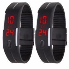 Hình ảnh Bộ 2 Đồng hồ led kiểu dáng thể thao dây dẻo Sport (Đen)
