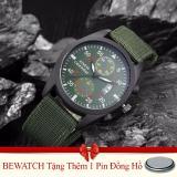 Mã Khuyến Mại Bộ 2 Đồng Hồ Nam Day Vải Nato Bewatch Xanh Reu Tặng Kem 01 Vien Pin Bewatch
