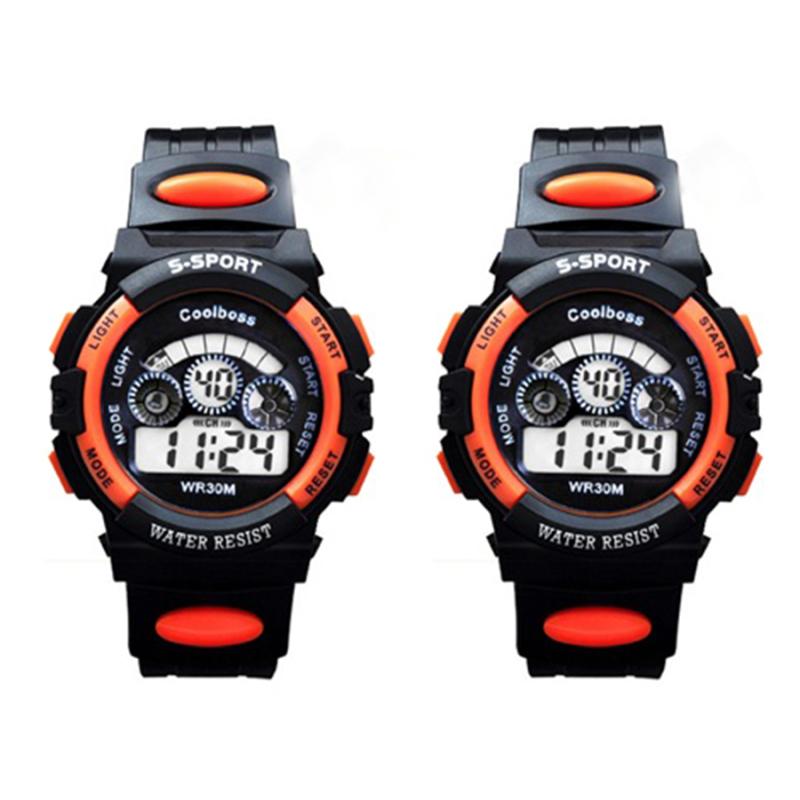 Bộ 2 Đồng hồ trẻ em dây nhựa chống nước (Cam Đen) bán chạy