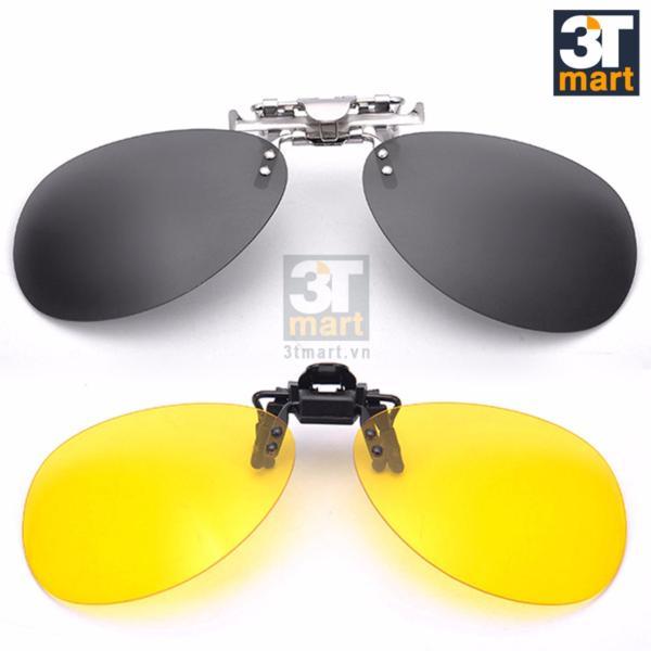 Mua Bộ 2 kính mát kẹp phân cực chống chói ban ngày và chống lóa đèn xe ban đêm cho người cận Tmart OV03XV (xám vàng)