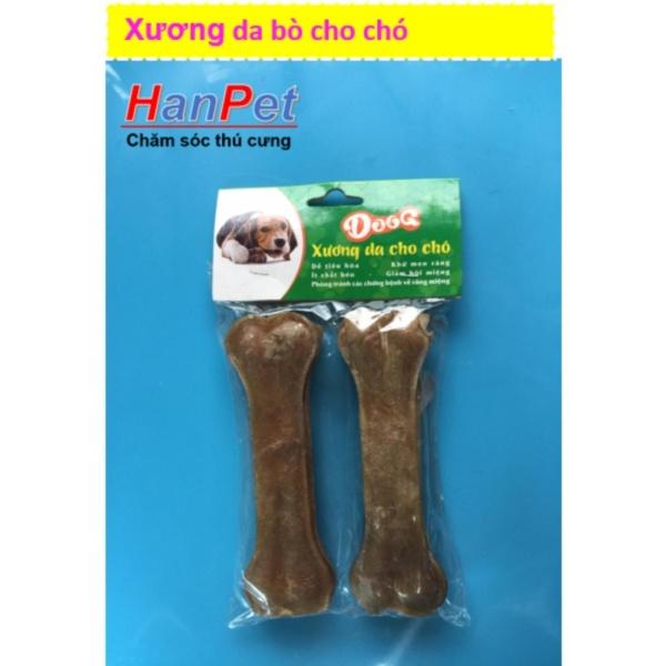 HCM-Bộ 2 Xương ống da bò cho chó gặm - phù hợp với chó trên 7kg (hanpet 370) 15cm-HP10329TC
