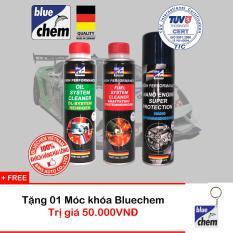 Bộ 3 sản phẩm Bluechem Làm sạch và Bảo vệ Động cơ Xăng 250ml tặng Móc khóa Bluechem