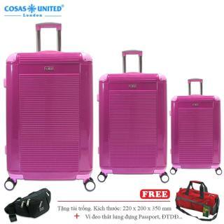 Bộ 3 vali nhựa dẻo siêu nhẹ cần kéo Inox Cosas United khóa TSA size 20, 24 và 28 màu hồng đậm TA272 thumbnail