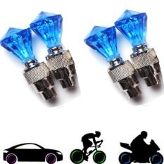 Bộ 4 Đèn Led Gắn Van Xe Kim Cương Trang Trí Và An Toàn Xe TI309 (xanh lam)