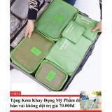 Chiết Khấu Bộ 6 Tui Du Lịch Chống Thấm Bags In Bag Xanh La Tặng Kem Khay Đựng Mỹ Phẩm Để Ban