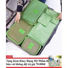 Bán Bộ 6 Tui Du Lịch Chống Thấm Bags In Bag Xanh La Tặng Kem Khay Đựng Mỹ Phẩm Để Ban Mới