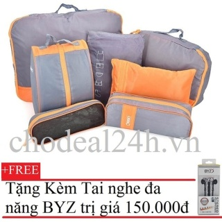 [HCM]Bộ 7 túi thể thao đựng đồ du lịch (Xám Cam)+Tặng Tai nghe BYZ S389 (đen) thumbnail