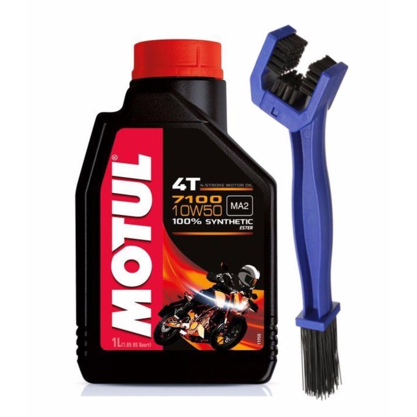 Bộ nhớt cho xe máy,mô tô phân khối lớn Motul 7100 4T 10W50 và bàn chải vệ sinh sên 3D