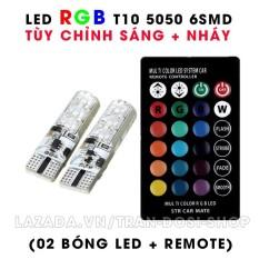 Bộ đèn LED RGB demi điều khiển màu + chế độ nháy, sáng chuẩn T10 12v