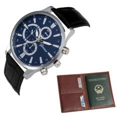 Hình ảnh Bộ đôi Đồng hồ dây da nam thời trang và ví da WLQC02
