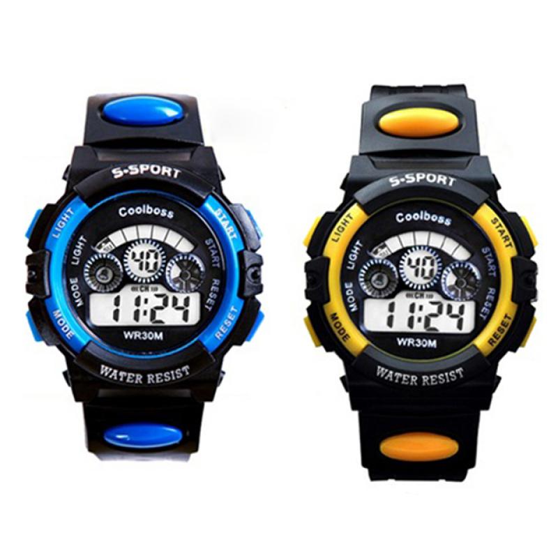 Bộ hai Đồng hồ trẻ em dây nhựa chống nước (Xanh Đen - Vàng Đen) bán chạy